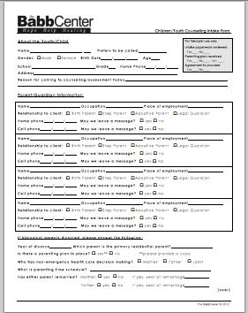 Youth/Child Counseling Form